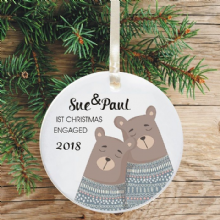 First Christmas Engaged Keepsake Decoration - Bear Jumpers Design